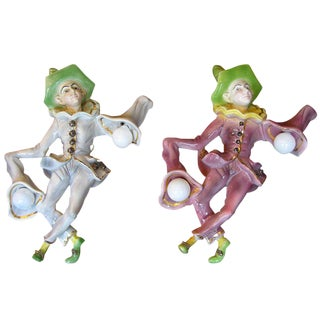 1950s Italian Pulcinella Ceramic Wall Lights - a Pair For Sale