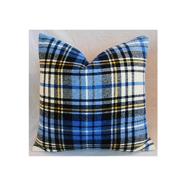 Custom Scottish Blue Tartan Plaid Wool Pillow - Image 2 of 5