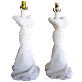 Draped Plaster Lamps After John Dickinson - Pair For Sale