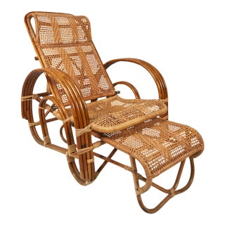 Rattan Reclining Lounge Chair W/ Ottoman For Sale