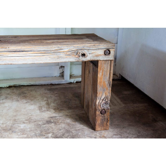 """Reclaimed Wood Parsons Dining Entry Bed Bench Coffee Table 70"""" For Sale In San Antonio - Image 6 of 11"""