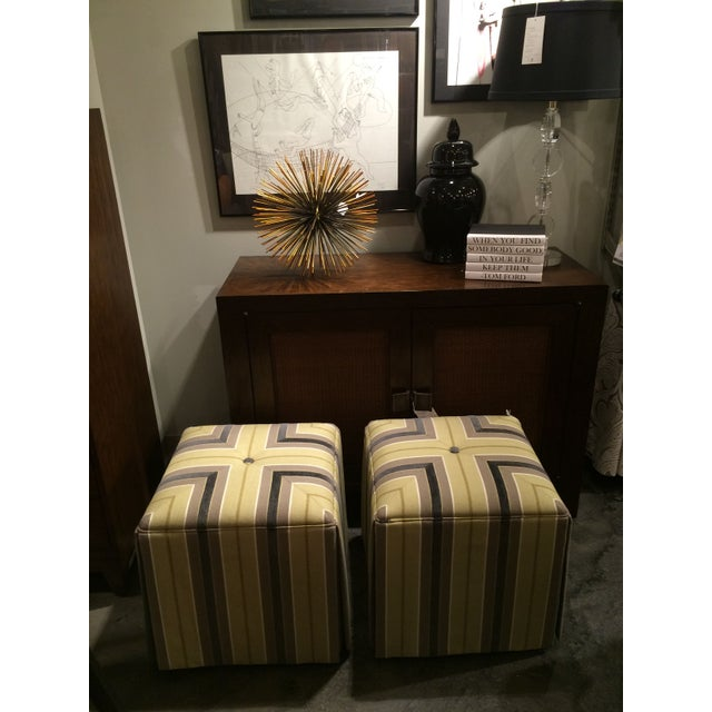 Taylor King Upholstered Striped Cube Ottomans - a Pair For Sale In Chicago - Image 6 of 7
