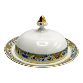1920s Koenigszelt Silesia Dome Covered Bone China Serving Dish For Sale