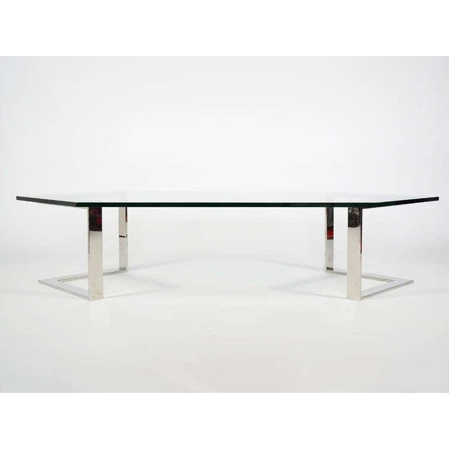 Chrome And Glass Coffee Table By Directional - Image 3 of 10