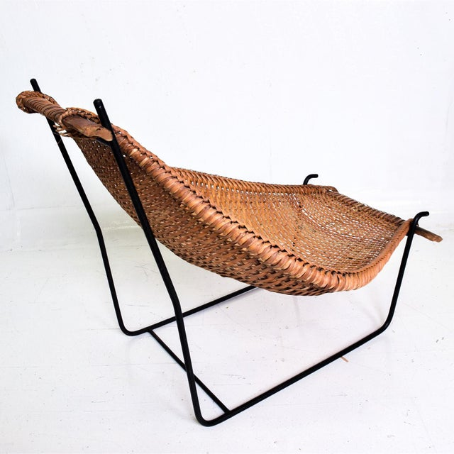 John Risley Wicker & Iron Chair, Mid Century Modern For Sale - Image 9 of 11