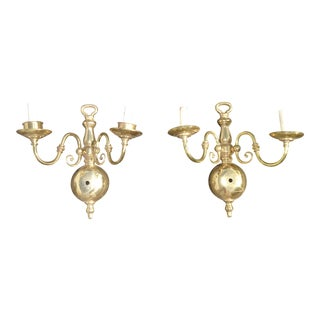 Pair of Vintage French Country Gold Candalabras Sconces Candle Holders For Sale