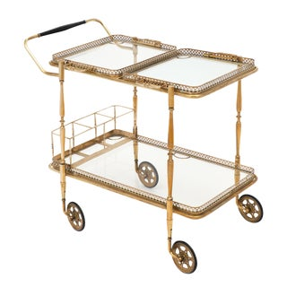 French Art Deco Period Bar Cart With Trays For Sale