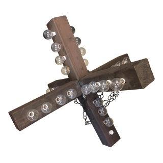 Industrial Wooden Cross Chandelier For Sale