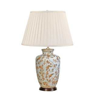 Gold Birds & Berries Ceramic Table Lamp For Sale