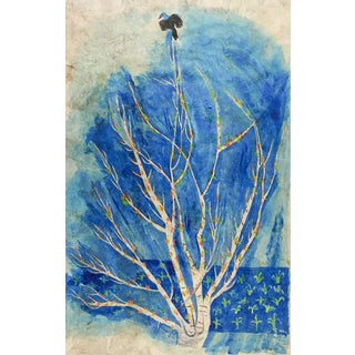 Modernist Blue Tree Watercolor Painting For Sale