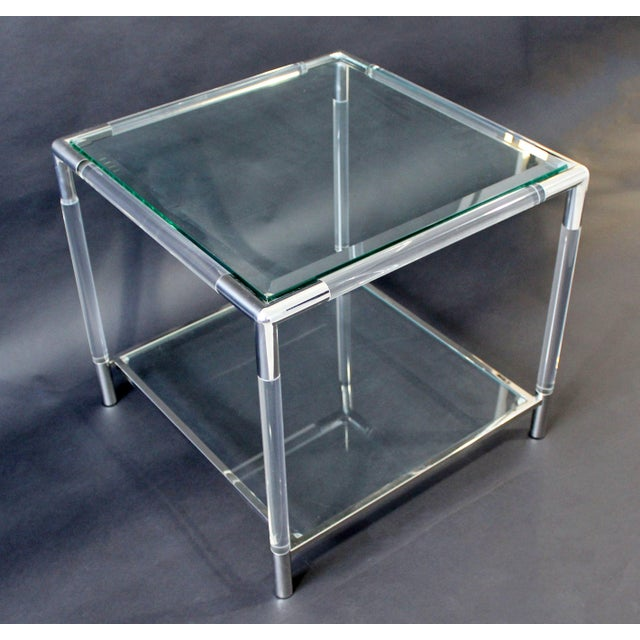 For your consideration is a beautiful, square coffee table, made of chrome and Lucite and with two glass inserts, after...