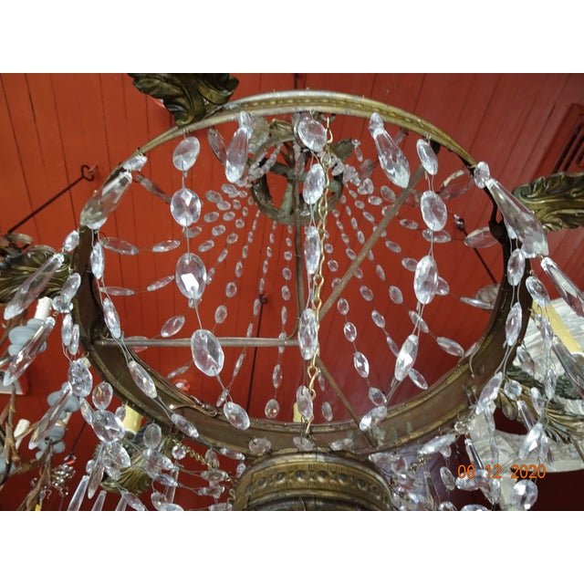 19th Century French Tole and Crystal Chandelier For Sale - Image 10 of 13