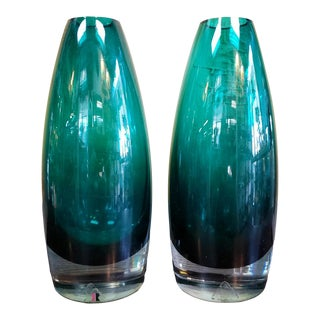 Mid Century Riihimaki Green/Clear Glass Alladin Vases- a Pair For Sale