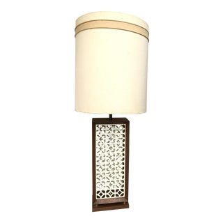 Vintage Mid Century Modern Wood and Lattice Tall Table Lamp Base For Sale