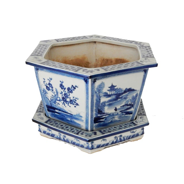 Blue & White Hexagonal Jardiniere - Image 5 of 8