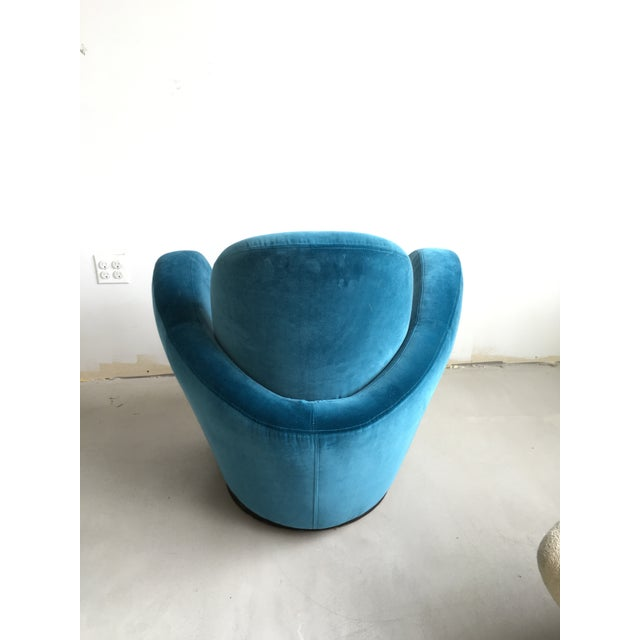 Directional Vladimir Kagan Blue Velvet Wrap Around Swivel Chairs, a Pair For Sale - Image 4 of 8
