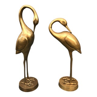 1970s Vintage Solid Brass Heron Statues - a Pair For Sale