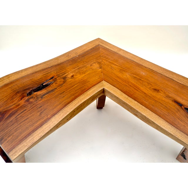 1980s Live Edge Waterfall Corner Table/Bench For Sale - Image 4 of 7