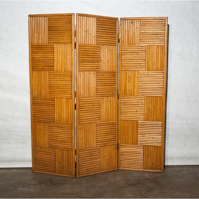Tan Circa 1950 Vintage Japanese Rattan 3 Panel Folding Screen For Sale - Image 8 of 8