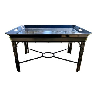 Late 20th Century Black Lacquered Faux Bamboo Tray Coffee Table For Sale