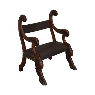 Antique 19th Century Unusual Italian Renaissance Revival Carved Claw Foot Leather Armchair For Sale