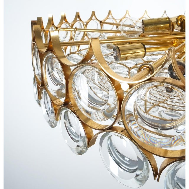 Palwa Xxl Refurbished Gold Plated Brass and Glass Semi Flush Mount Lamp For Sale - Image 10 of 13