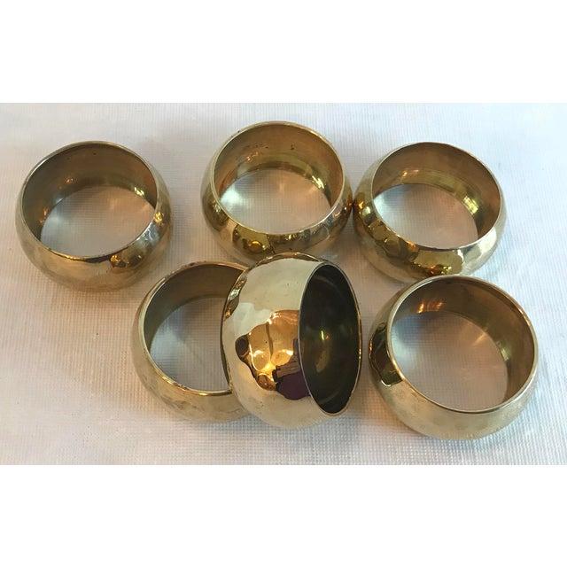 Brass Vintage Brass Hammered Napkin Rings - Set of 6 For Sale - Image 7 of 8