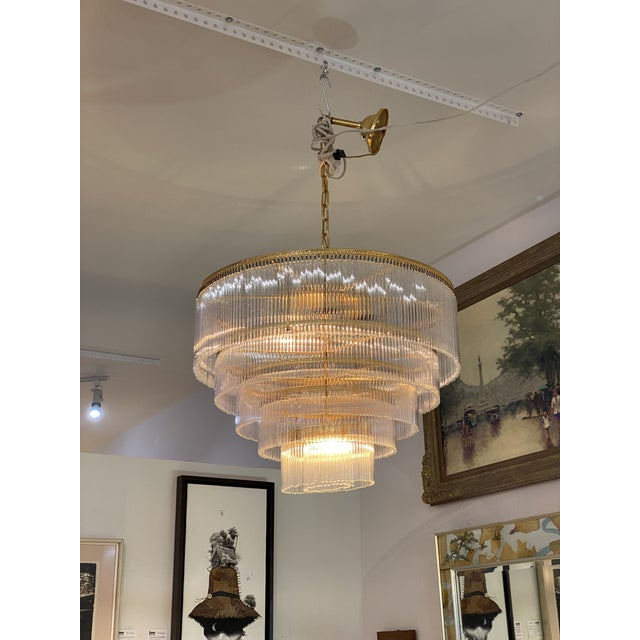 Mid-Century Scolari Murano 7-Light Tiered Glass Tubes Chandelier For Sale - Image 9 of 10