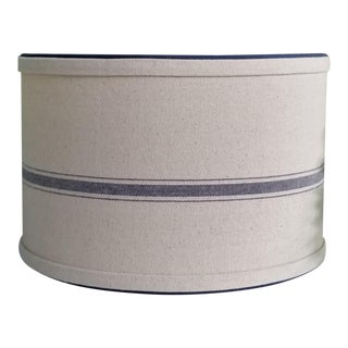 Grain Sack and Navy Blue Beige Fabric Large Drum Lampshade For Sale