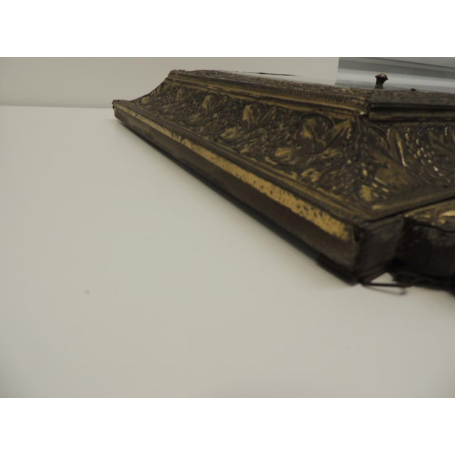 Brass Antique Repose Brass Vanity Reliquary with Mirrored Door and Coat Brushes For Sale - Image 7 of 8