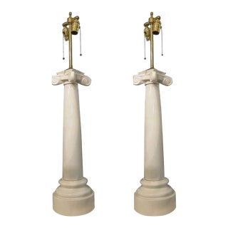 Early 20th Century Antique Neoclassical Style Porcelain Column Lamps - a Pair For Sale