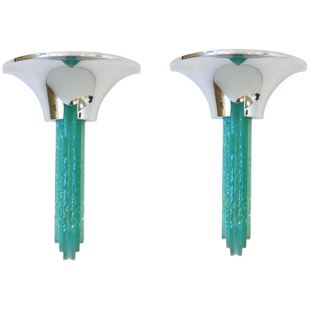 """Percell"" Chrome and Glass Wall Sconces by Karl Springer - a Pair For Sale"