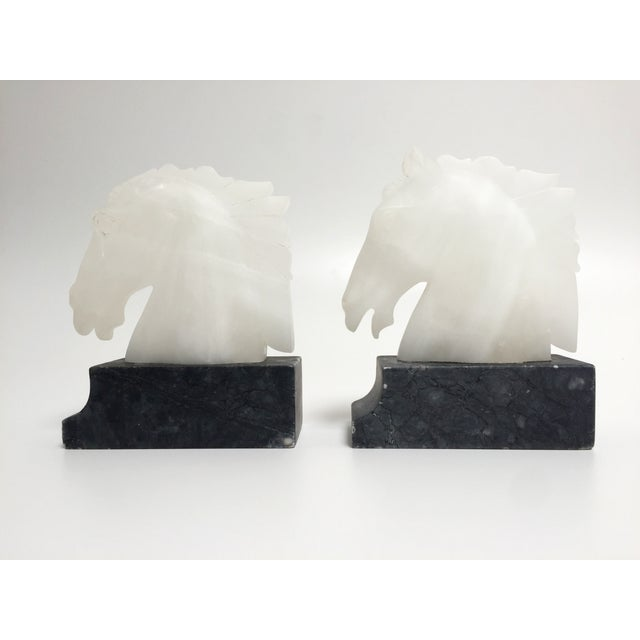 Vintage Alabaster Horse Head Bookends - A Pair For Sale - Image 10 of 10