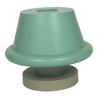 Ettore Sottsass Senape Light Blueish Green and Sand Gray Vase For Sale