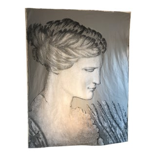 Representing Stylized Profile Grecian Statue Painting Acrylic on Canvas For Sale