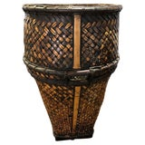 Image of 20th Century Indonesian Hand Woven Rattan and Bamboo Hauling Basket For Sale