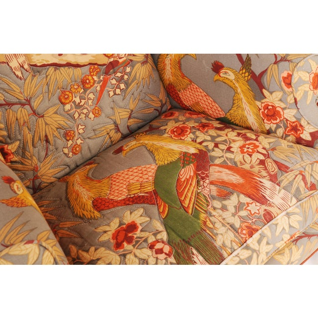Wingback Chairs in Quilted Peacock Fabric - A Pair For Sale In Chicago - Image 6 of 9