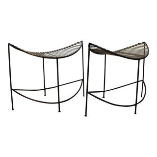 Uttermost Gold and Black Scoop Design Accent Stools - A Pair For Sale