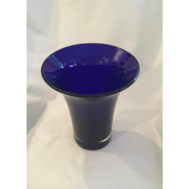 Vintage Hand-Blown Flared Cobalt Blue Cased Glass Vase - Image 4 of 7