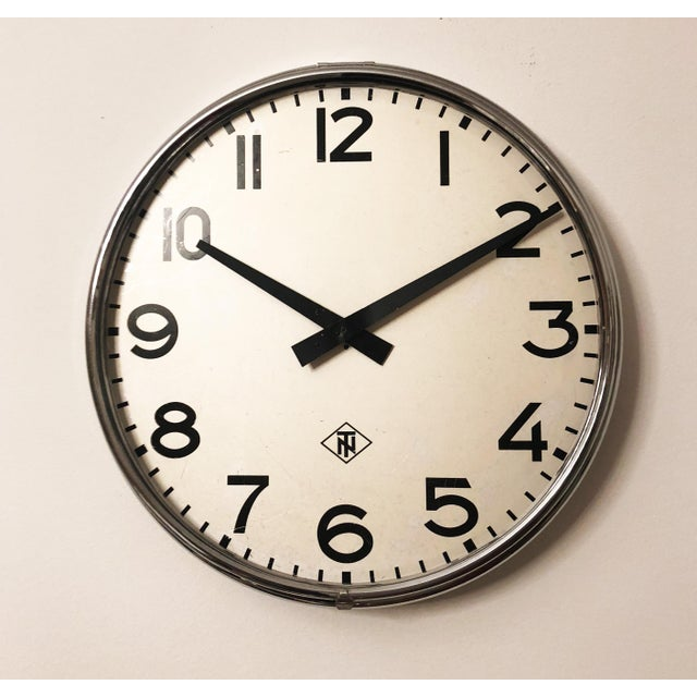 1970s Large Industrial Factory or Stration Clock by Telefonbau Und Normalzeit For Sale - Image 5 of 6