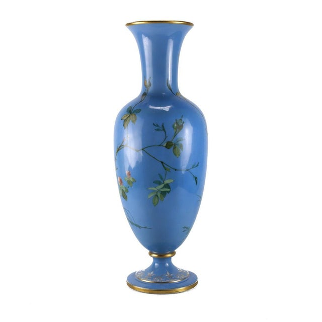 French Opaline Glass Vase Hand Painted Blue With Sparrows, Circa 1900 - Image 5 of 5