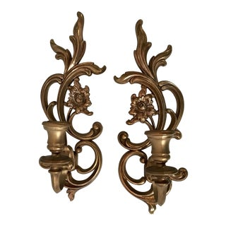 Vintage Syroco Gold Wall Sconces - A Pair For Sale