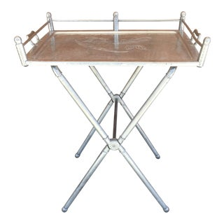 1940s Hollywood Regency Aluminum Folding Tray Table For Sale