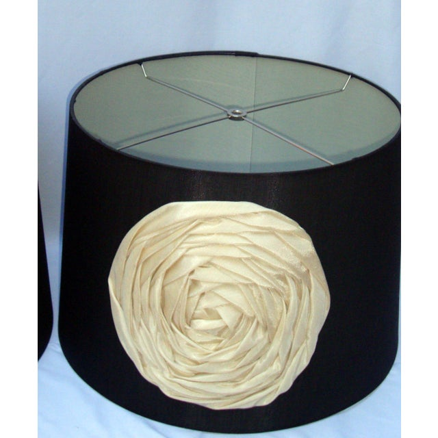 Modern Deco Glam Black Silk Floral Lampshades - Image 3 of 9