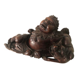 "Antique Handcarved Rosewood ""Reclining Buddha With Shishi"" Sculpture For Sale"