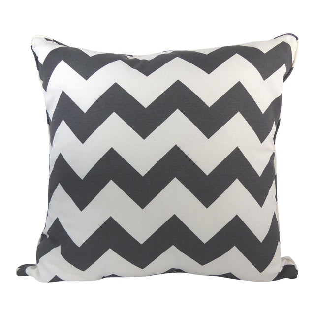 Dark Gray/Off-White Chevron Pattern Custom Pillow - Image 1 of 6