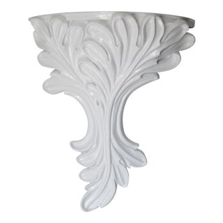 Vintage Dorothy Draper Style Leaf With Plaster Overlay Mini Wall Console or Wall Bracket For Sale