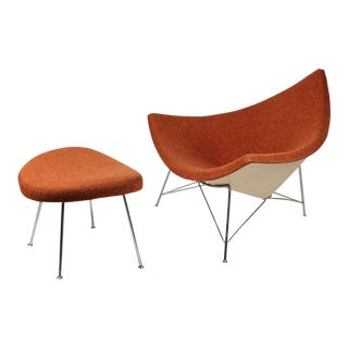 Museum Quality Early Coconut Chair & Ottoman by George Nelson for Herman Miller For Sale