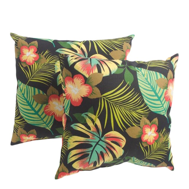 Rainforest Palm Outdoor Pillow - A Pair - Image 1 of 2