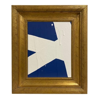 Ron Giusti Mini Abstract Navy Cream Painting, Framed For Sale
